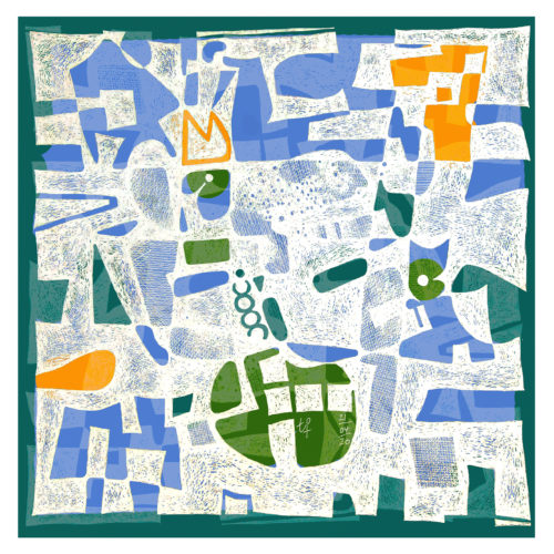 (Weißer Fineliner, Filzstift, farbiges Papier) 20 x20 cm
