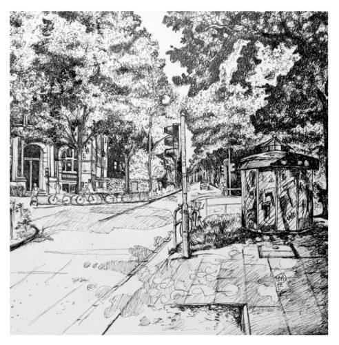Fischers Allee | Bleickenallee | OTTENSEN (Fineliner) 20 x 20 cm